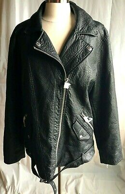 American Eagle Women's XXL Faux Leather Black Jacket with Faux Animal Fur Liner