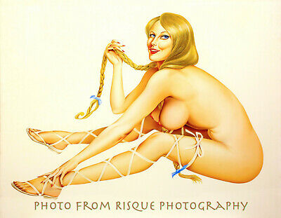 "Nude Woman With Long Braids 8.5x11"" Photo Print Alberto Vargas Lovely Pin-up Art"