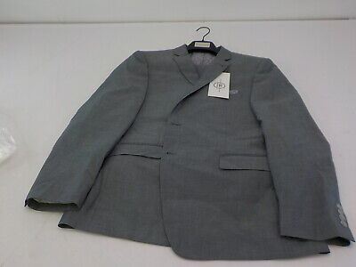 Perry Ellis Men's Two Piece Finished Bottom Slim Suit, Silver Solid, 44R/38x32