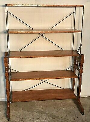 Rare 19th Century Country Store Oak Folding Bakers Rack / Combination Table