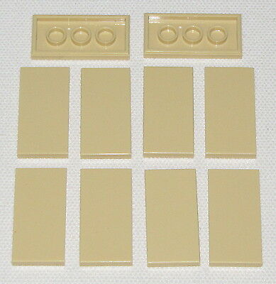 LEGO LOT OF 20 TAN 2 X 4 FLAT TILES PIECES SMOOTH SAND COLOR SLIDER PARTS