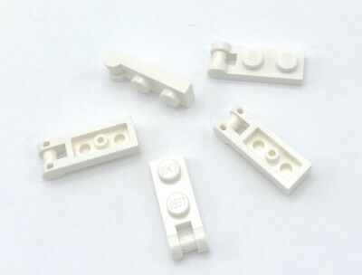 Lego 100 New White Plates Modified 1 x 2 with Handles  Flat Ends Low Attachment