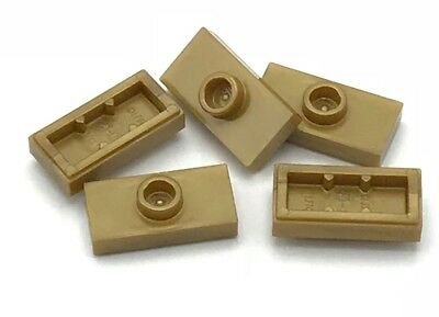 Lego 100 New Pearl Gold Plates Modified 1 x 2 with 1 Stud Groove Jumper Parts
