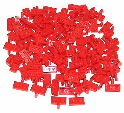 LEGO Red Plate Modified 1x2 Arm Up Lot of 100 Parts Pieces 88072