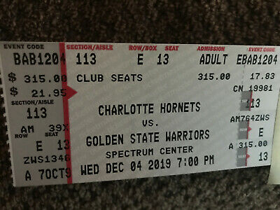 2 Tickets Golden State Warriors @ Charlotte Hornets 12/4/19 Charlotte, NC