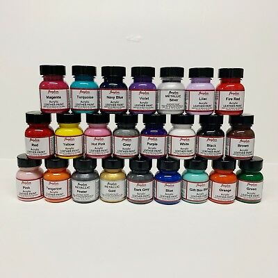 Angelus Acrylic Leather Paint Leather Vinyl - 1 Fl Oz  Set of 24 Colors Sneaker