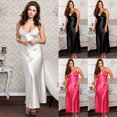 AU Women Sexy Satin Lingerie Ladies Nightie Nightwear Nightdress Silk Chemise