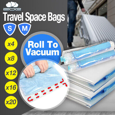 Travel Roll Up Vacuum Space Saver Storage Bags Compressing Luggage Organiser