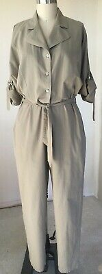 Vintage Single Breasted Khaki Button Front Boiler Suit with Roll Up Sleeve S14