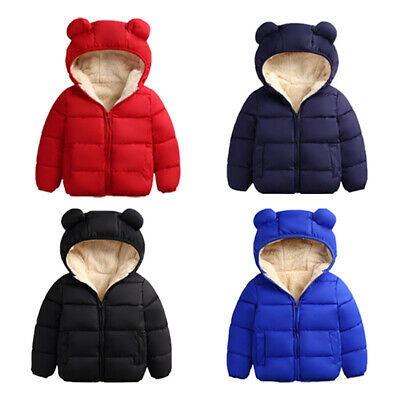 AU Toddler Kid Baby Boy Girl Bear Hooded Coat Winter Thick Jacket Warm Outwear