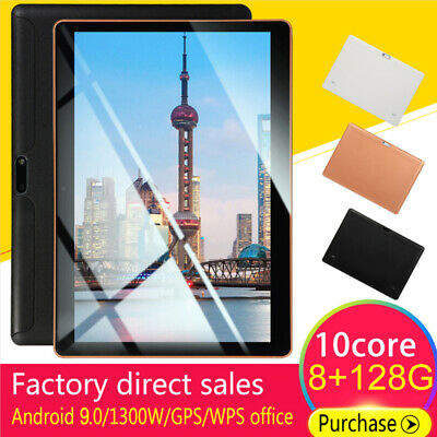 """10.1"""" Android 9.0 Tablet PC 8+128G 10-Core WIFI Micro-USB Dual SIM GPS Phablet"""