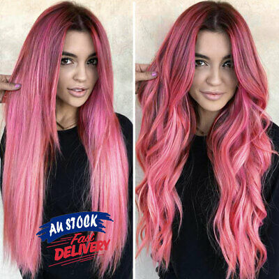 Women Long Wig Color Pink AU Ombre Rose Hair Taro Hairstyle Black Wavy