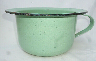 1940s VINTAGE ENAMEL WARE CHAMBER POT - Speckled Green with Black edge
