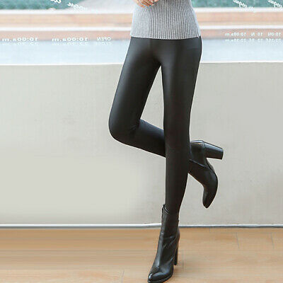 Women Skinny Faux Leather Stretchy Pants Leggings Pencil Tight Trousers Cheap