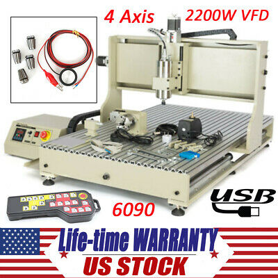 Engraver 4 Axis CNC 6090 Router Engraving Machine 2.2KW VFD Kit with Controller