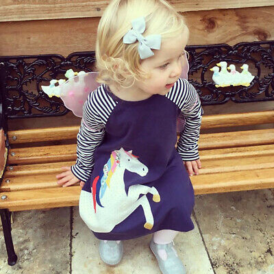 Baby Kids Unicorn Girls Autumn Long Sleeve Striped Dress Tops Party Outfit 1-8Ys
