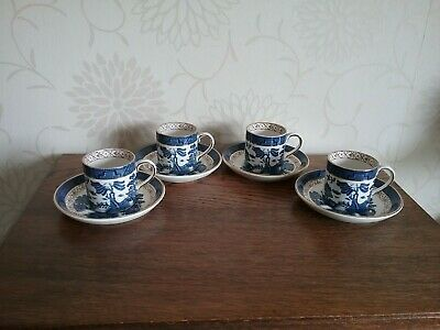 4 Coffee cans & saucers Antique Booths Real Old Willow A8025 Cup