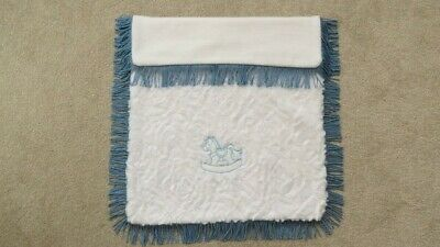 Coach Built Pram Traditional Fur Embroidered Rug Blanket White and Blue Fringed