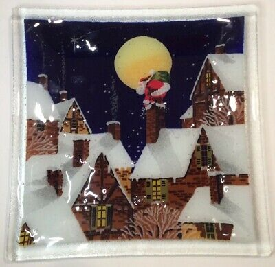 """Peggy Karr 10"""" Square Fused Art Glass Plate Santa Rooftop Chimney Christmas Eve"""