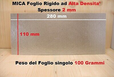 MICA Isolante termico ALTE TEMPERATURE foglio RIGIDO mm 280X110 SP 2 mm