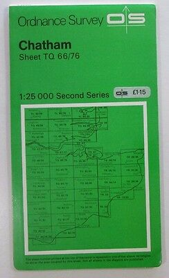 1974 old vintage OS Ordnance Survey Second Series 1:25000 map Chatham TQ 66/76