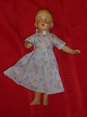 "14"" Vintage Composition Doll Unmarked Side Glance Eyes Blond Metal Strung E7"