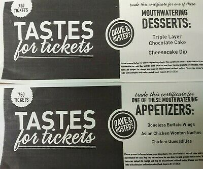 (5) Dave And Buster's Appetizer/Dessert Taste For Tickets Certificates