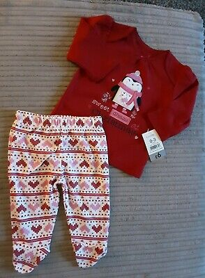 Baby Girls Christmas Pyjamas Set with Penguin Age O-3 Months Nwt George