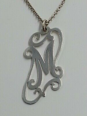 """925 Sterling Silver,  Hand Made,  Inittial Monogram, M, 16""""Chain with 2"""" Extensi"""