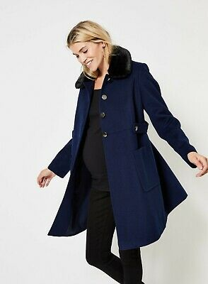 Brand New Ex Dorothy Perkins Maternity Navy Coat/Faux Fur/Detachable Collar