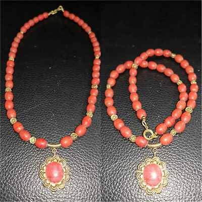 Old Beautiful Glass Beads Necklace with Gold plated Pendant # 37