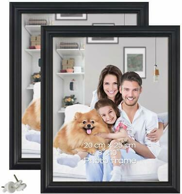 2 Pack of 10x8 inch Photo Frames Black Picture Holders for Wall & Stand Display