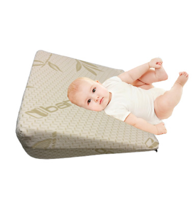 Baby toddler Cot Bamboo Wedge Pillow Elevated Support Acid Reflux Memory Foam