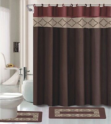 Dynasty Burgundy & Brown 15-Pc Bathroom Accessory Set 2 Bath Mats Shower Curtain