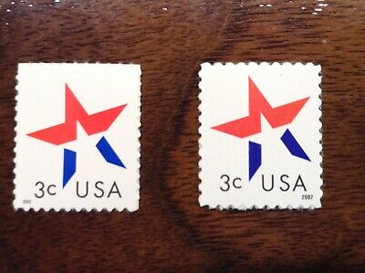 US Stamps 3613 & 3614 Star, 2002 dates on left and right! Mint