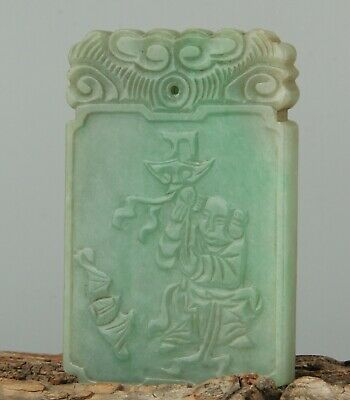 Chinese Exquisite Hand carved child Carving jadeite jade Pendant
