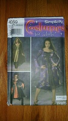 Rare Vintage Simplicity Pattern Goth Witch Costume Uncut 4959 size HH 6,8,10,12