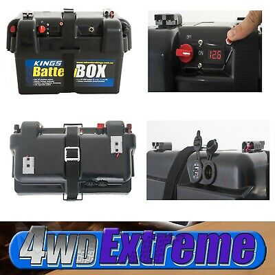 New Kings Battery Box Portable 12V 2x USB & Cig Socket Anderson plug Caravan 4x4