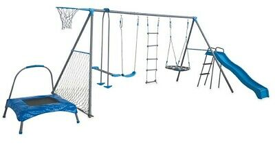 Swing Set - 8 Station Complete Set with Trampoline Christmas Free Delivery