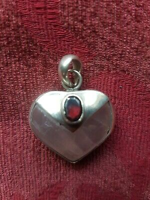 Vintage Rose Quartz And Garnet Heart Sterling Silver Pendant Witch Wicca Pagan