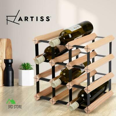 Artiss 12 Bottle Wine Rack Storage Timber Wooden Wall Racks Organiser Cellar