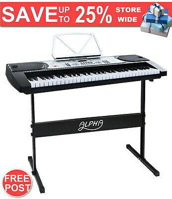61 Keys Electronic Piano Keyboard LED Electric Silver Music Stand for Beginner