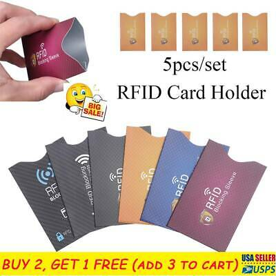 5PCS RFID Credit Card Protector Blocking Sleeve Skin Case Covers Protect Case