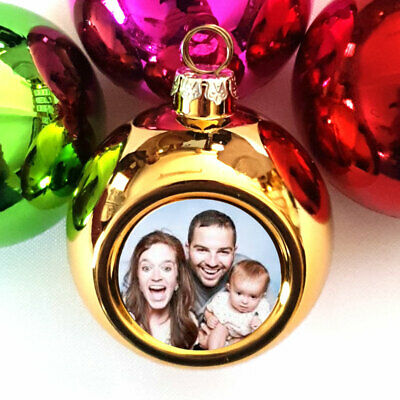 Christmas Bauble Personalised photo Metallic Hot pink Green Red Gold for Xmas