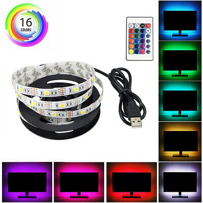 0.5m-5m Ruban RGB Multicolores Lampe LED 5050 USB Flexible Rétroéclairage TV