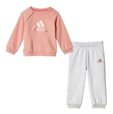 ADIDAS baby Girl pink fleece TRACKSUIT Infant JOGGER Set (86cm) BNWT