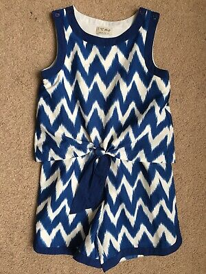 Next Girls Blue And White Playsuit Age 7