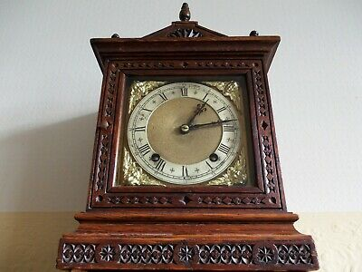 ANTIQUE OAK CHIMING MANTEL CLOCK BY WINTERHALDER & HOFMEIER c1900.