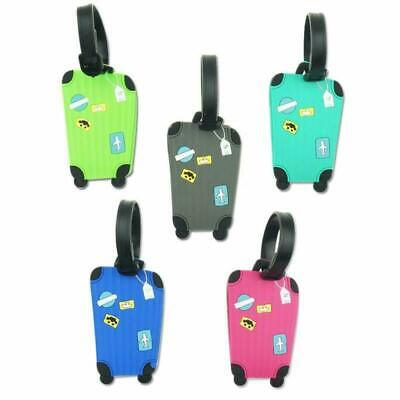 IWILCS Luggage Name Tag Set, 5 Pack Aeroplane Luggage Tag, Flexible Silicone Tra