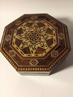 Vintage Octagon Jewelry Mother-of-Pearl Inlay Marquetry Lacquered Trinket Box
